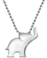 Little Luck By Alex Woo Elephant Pendant Necklace In Sterling Silver