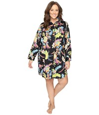 Lauren Ralph Lauren Plus Size Sateen Printed Sleepshirt Paisley Black Multi Women's Pajama