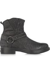 Karl Lagerfeld Croc Effect Leather Ankle Boots Black