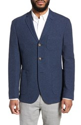 Sand Trim Fit Cotton Blend Blazer Mid Blue