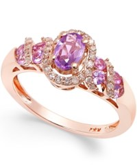 Macy's Purple Sapphire 3 4 Ct. T.W. And Diamond 1 5 Ct. T.W. Ring In 14K Rose Gold