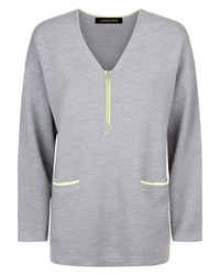 Jaeger Wool Zip Detail V Neck Sweater Grey