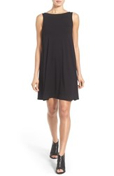 Women's Eileen Fisher Lightweight Jersey Bateau Neck Knee Length Dress Black