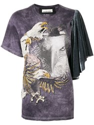 Night Market Eagle Embroidered T Shirt Pink And Purple