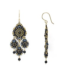 Miguel Ases Beaded Earrings Gold Multi