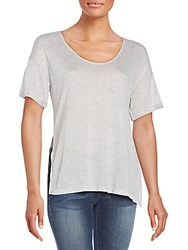 Frame Denim Wool Blend Jersey Side Slit Tee Light Grey