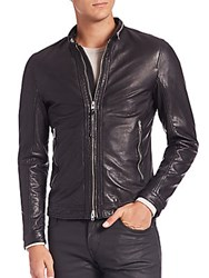 J. Lindeberg Trey Sleek Leather Jacket Black