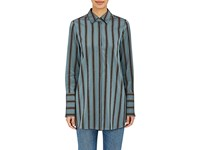 Brock Collection Women's Striped Button Front Blouse Turquoise
