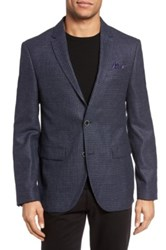 Sand Check Wool Blazer Blue