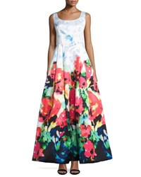 Nicole Miller New York Sleeveless Floral Print Fit And Flare Gown Multi