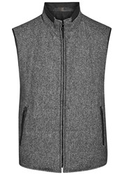 Corneliani Grey Reversible Wool Blend Gilet Charcoal