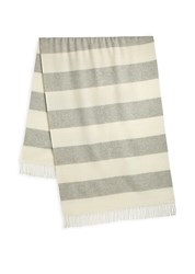 Ralph Lauren Purple Label Stripe Cashmere Fringe Scarf Grey Cream