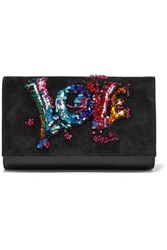 Christian Louboutin Paloma Embellished Suede And Textured Leather Clutch Black