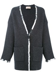 Christopher Kane Sequin Trim Cardigan Cashmere Wool Grey
