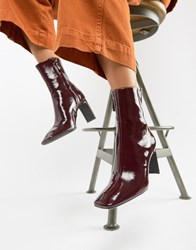 Bershka Patent Ankle Boot Red