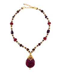 Jose And Maria Barrera Long Beaded Pendant Necklace Purple