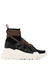 Agnona 40Mm Cashmere And Leather Sneakers Black