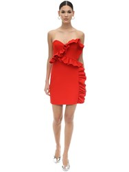 Msgm Strapless Double Crepe Mini Dress Red