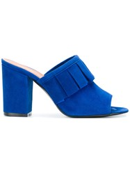 Via Roma 15 Pleated Detail Heeled Mules Blue
