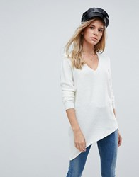 First And I Asymmetric V Neck Jumper Cream