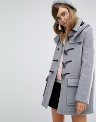 Gloverall Classic Duffle Coat With Detachable Hood Silver Grey