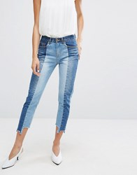 Evidnt Two Tone Crop Skinny Jeans Blue