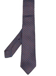 Kiton Floral Patterned Tie Blue