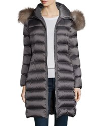 Moncler Tinuviel Shiny Quilted Puffer Coat W Fur Hood Gray
