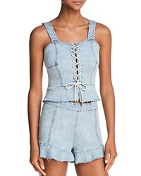 Blank Nyc Blanknyc Lace Up Denim Bustier Top 100 Exclusive Champagne Social