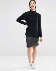 Vila Knit Skirt With Split Front Dark Grey Marl