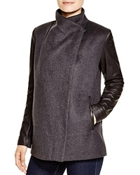 Bcbgmaxazria Wool Coat With Leather Sleeves Charcoal