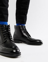 76e103651 Ted Baker Twrens Brogue Boots In Black Leather