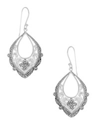 Lord And Taylor Rhinestone Openwork Drop Earrings Silver