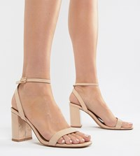 9ac14f9ee3 Asos Design Hong Kong Barely There Block Heeled Sandals Warm Beige Patent