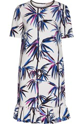 Emilio Pucci Ruffle Trimmed Printed Satin Twill Dress White