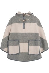 Mih Jeans Honor Hooded Striped Wool Blend Twill Cape Gray