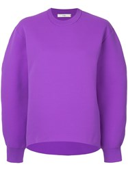 Tibi Tech Poly Sculpted Sleeve Sweatshirt Pink And Purple