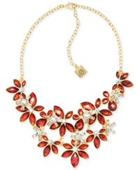 Anne Klein Gold Tone Stone And Crystal Floral Statement Necklace Red