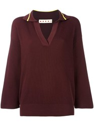Marni Ribbed Spread Collar Jumper Brown