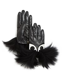 Maison Fabre Chock Face Short Leather Gloves With Fur Trim Gray Black