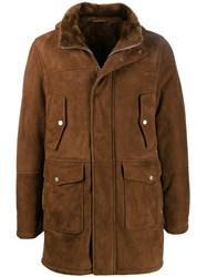 Eleventy Hooded Leather Coat Brown