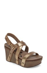 Otbt Women's Sail Wedge Sandal Gold Leather
