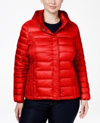 32 Degrees Plus Size Hooded Packable Down Puffer Coat Carmine Red