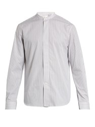 Christophe Lemaire Mandarin Collar Striped Cotton Shirt White Multi