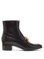Gucci Quentin Chain Embellished Leather Ankle Boots Black