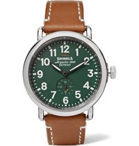 Shinola The Runwell 41Mm Stainless Steel And Leather Watch Tan