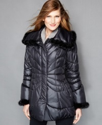 The Fur Vault Mink Fur Trimmed Quilted Puffer Coat Black