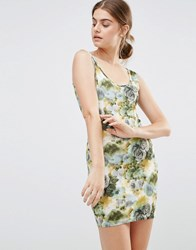 Jasmine Floral Body Conscious Dress Green