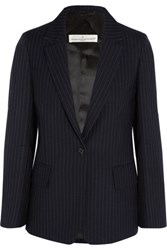 Golden Goose Deluxe Brand Pinstriped Wool And Mohair Blend Blazer Midnight Blue