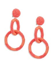 Oscar De La Renta Beaded Double Hoop Clip On Earrings Coral